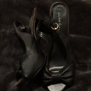 Black open toe women's heels.